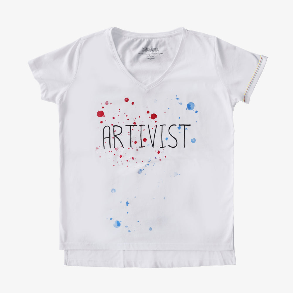 ethical and sustainable organic cotton women vneck tshirt artivist