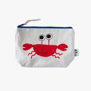 cotton canvas pouch with crab