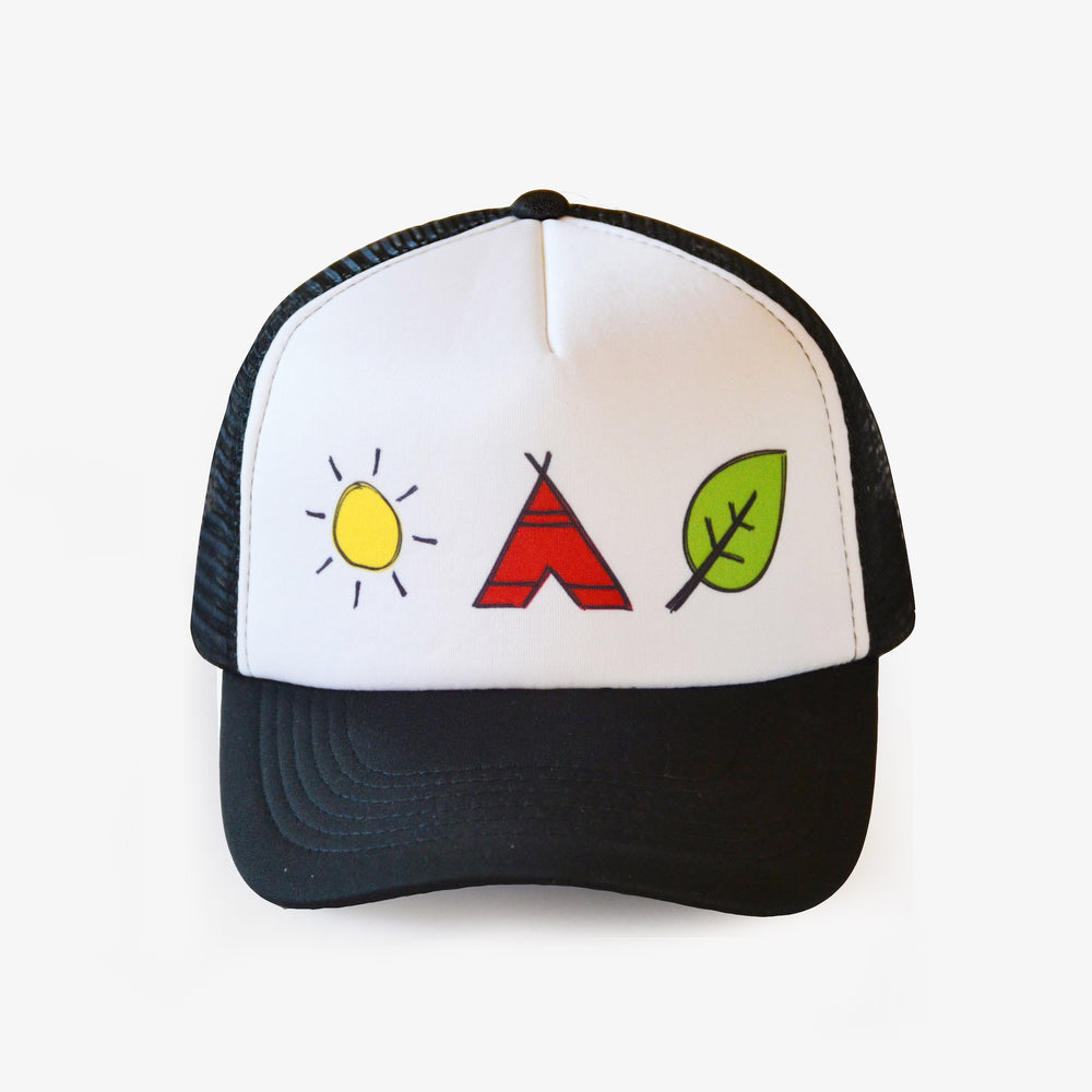 Load image into Gallery viewer, black trucker cap with sun, teepee and leaf