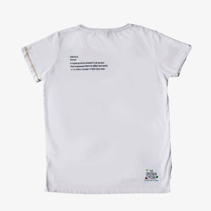 Load image into Gallery viewer, ethical and sustainable organic cotton vneck women tshirt with the word empower