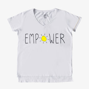 ethical and sustainable organic cotton vneck women tshirt with the word empower
