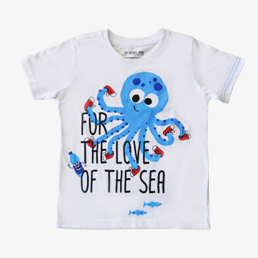 ethical and sustainable organic cotton tshirt with octopus