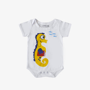 sustainable organic cotton baby onesie ethical fashion seahorse