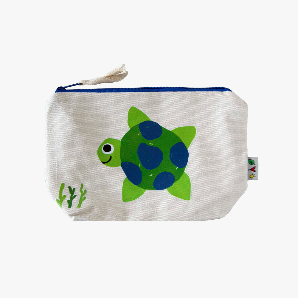 cotton canvas pouch with turtle