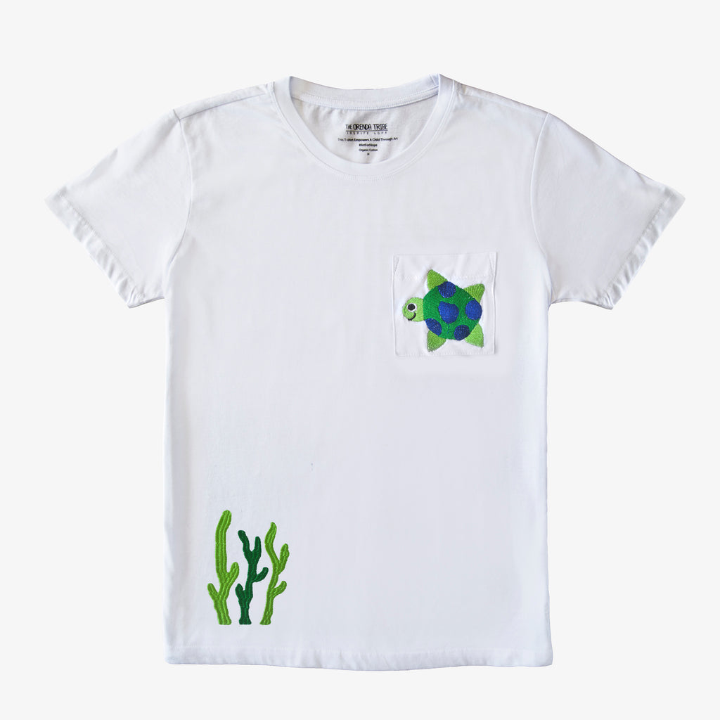 Riley The Turtle Adult Hand Embroidered T-Shirt Men