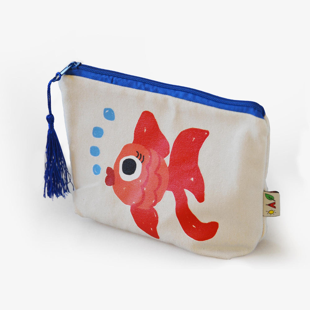 cotton canvas pouch with fish
