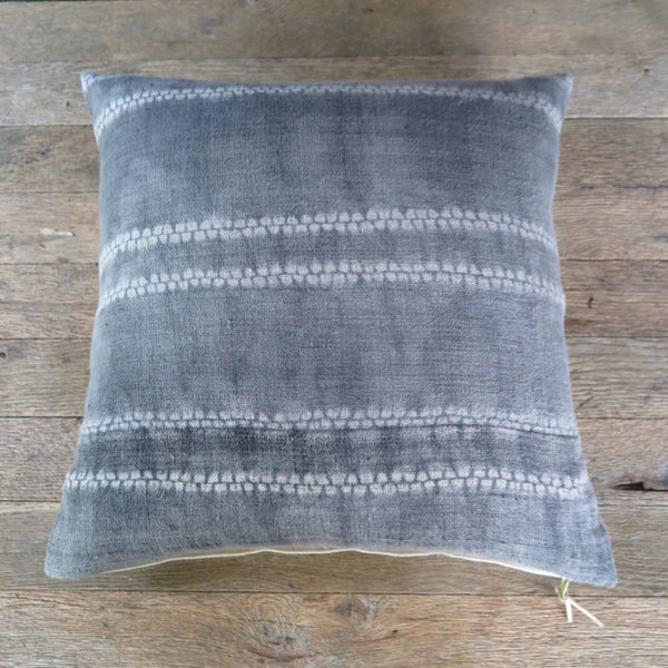 shibori grey linen one of a kind pillow - FOUND&MADE