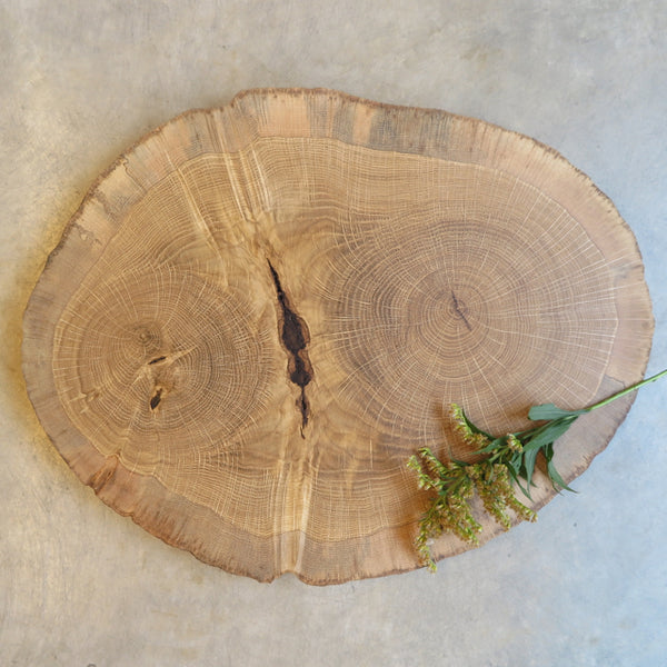 handcrafted reclaimed round oak serve board - FOUND&MADE