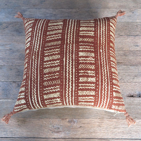 modern mud cloth tassel one of a kind pillow - FOUND&MADE