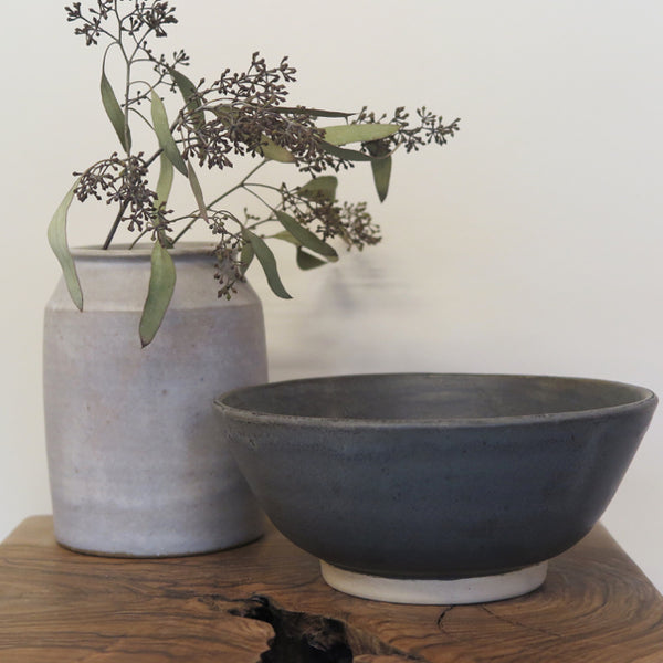grey glaze medium bowl - Beanpole Pottery
