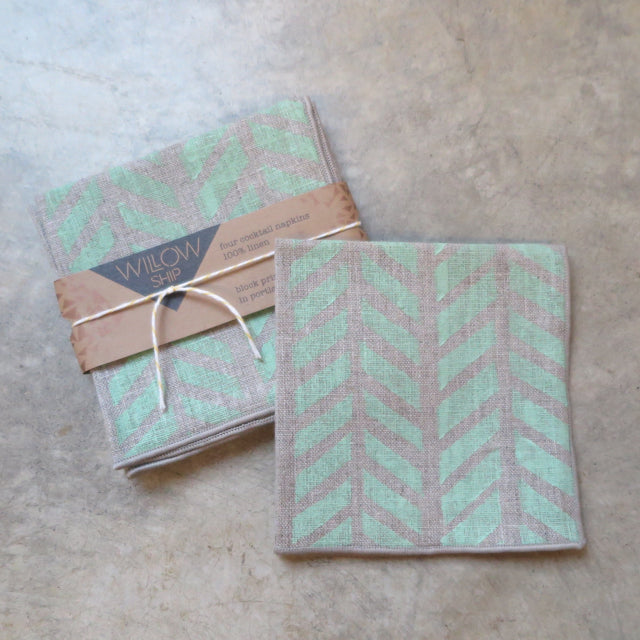 hand block print natural linen napkins by Willowship- FOUND&MADE