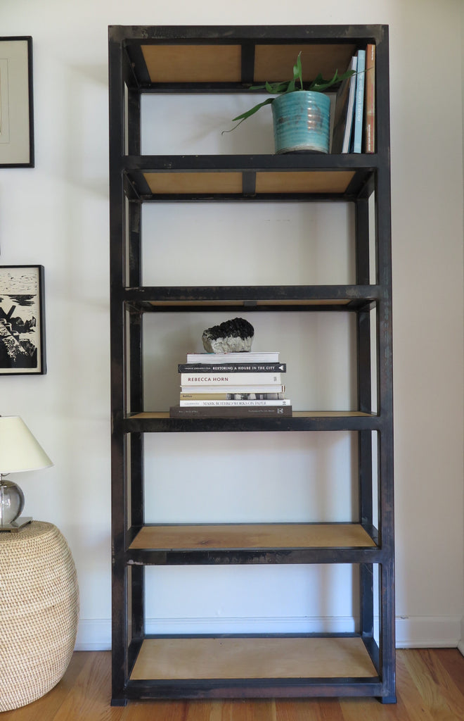 handcrafted steel and reclaimed wood bookcase - FOUND&MADE