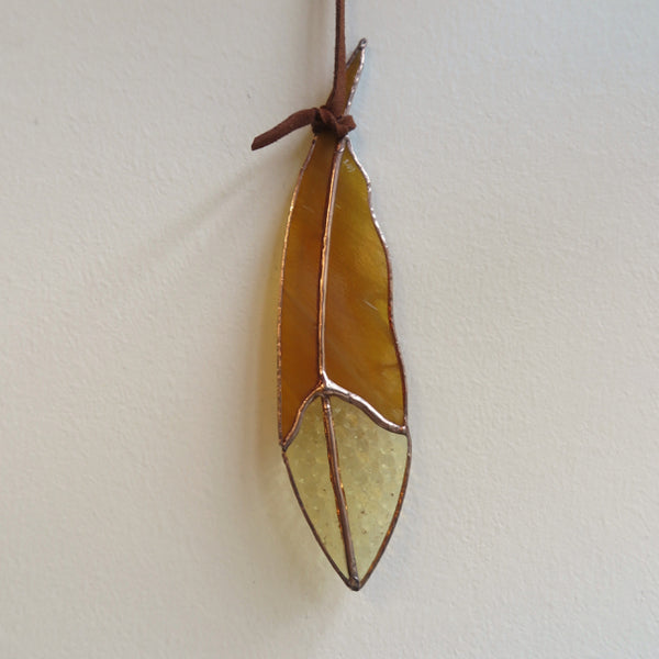 mini glass feather amber gold- Colin Adrian Glass