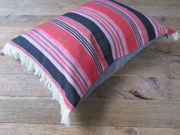 modern pink bold stripe pillow-FOUND&MADE