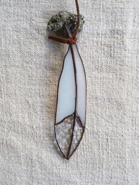 white iridescent mini glass feather - Colin Adrian Glass