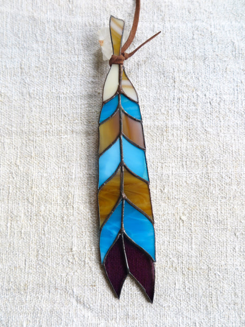 chevron stained glass feather - Colin Adrian Glass