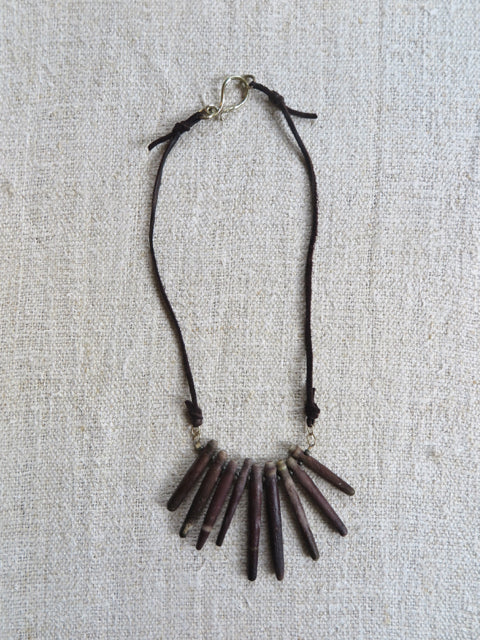 natural sea urchin leather necklace - Amy Weber Design