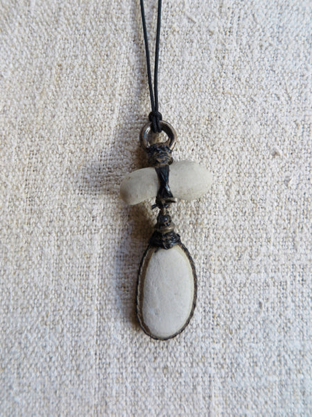 Japanese pebble talisman necklace - Lou Zeldis