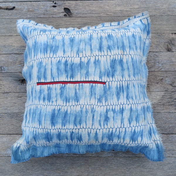 heirloom hand dyed indigo pillow