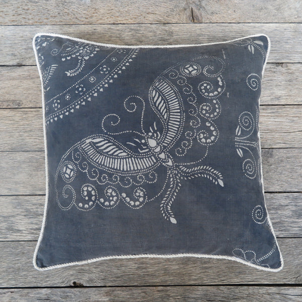 butterfly batik floral one of a kind pillow - FOUND&MADE