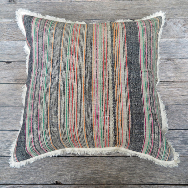 handcrafted linen stripe one of a kind pillow - FOUND&MADE