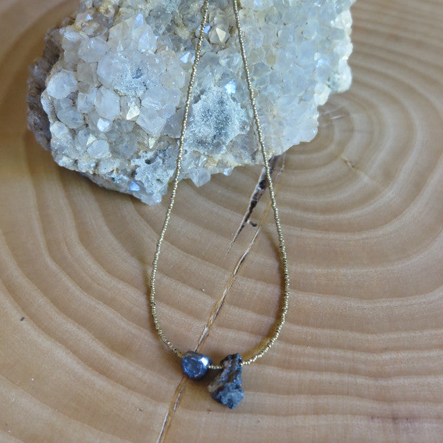 raw druzy and brass necklace- Amy Weber Design- FOUND&MADE