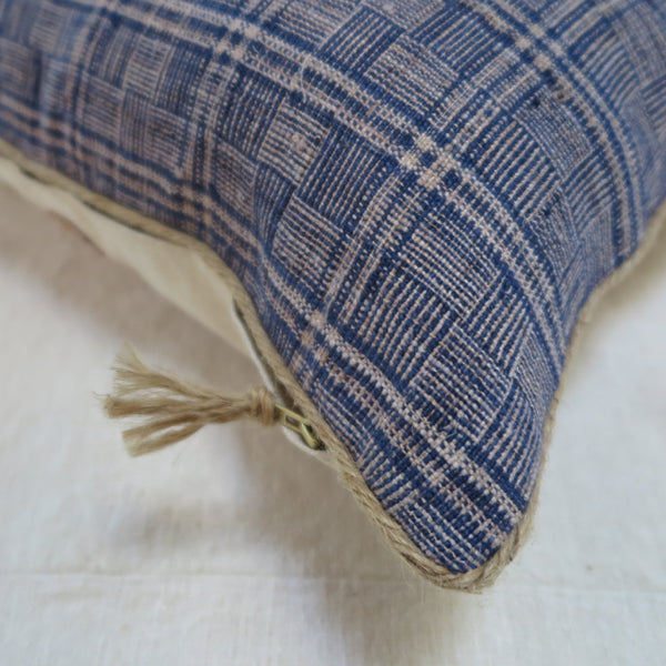 handwoven hemp linen one of a kind pillow - FOUND&MADE