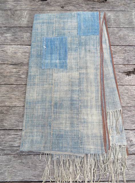 handmade african blue patch throw - FOUND&MADE