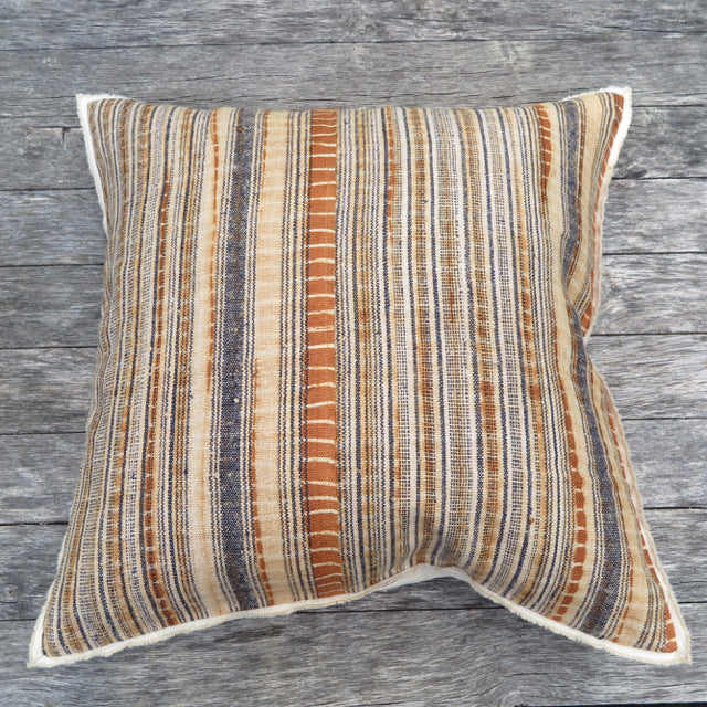 linen plaid selvedge one of a kind pillow - FOUND&MADE