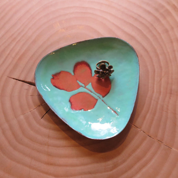 copper enamel found artisan dish