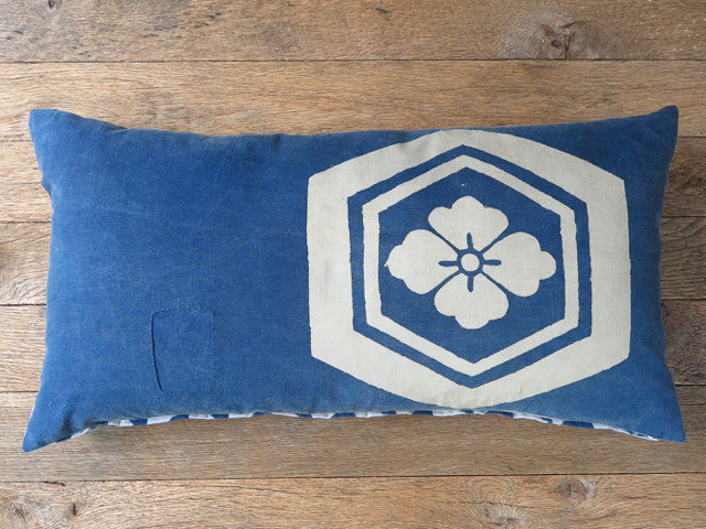 japanese vintage indigo flower pillow - FOUND&MADE
