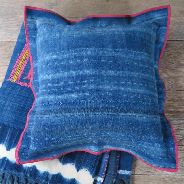 indigo blue flange one of a kind  pillow - FOUND&MADE