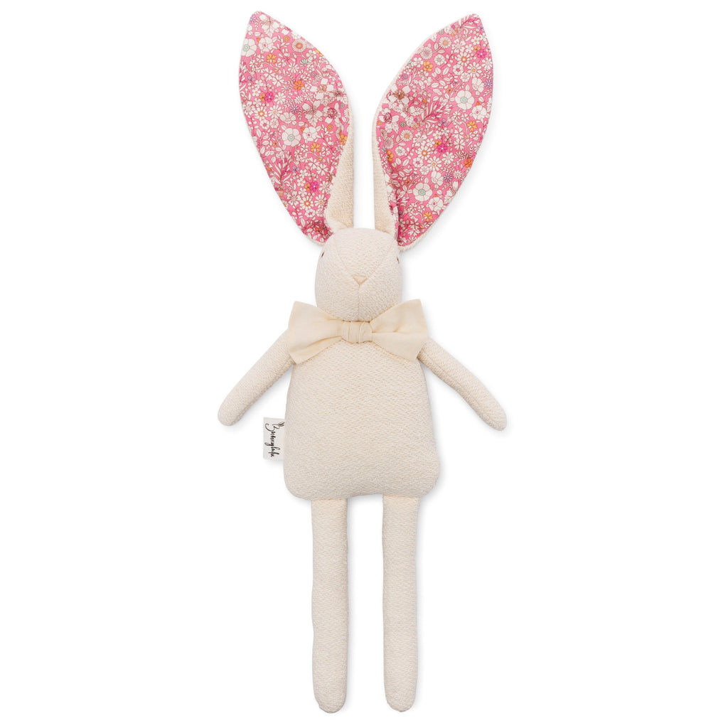 "Organic Bunny Raggy - Liberty of London ""June's Meadow"" - Pink - Bunnylulu Handmade"