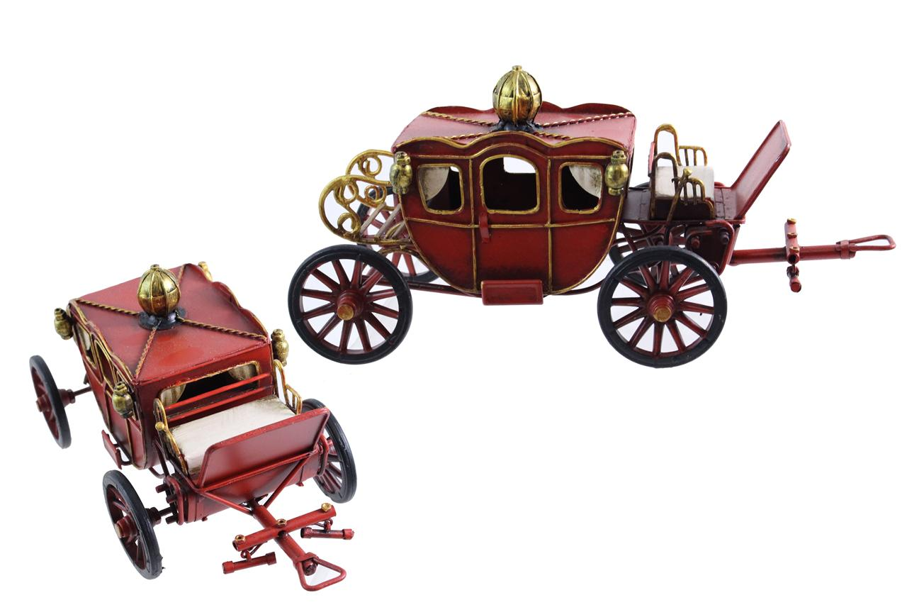 MINIATURE ANTIQUE RED CARRIAGE