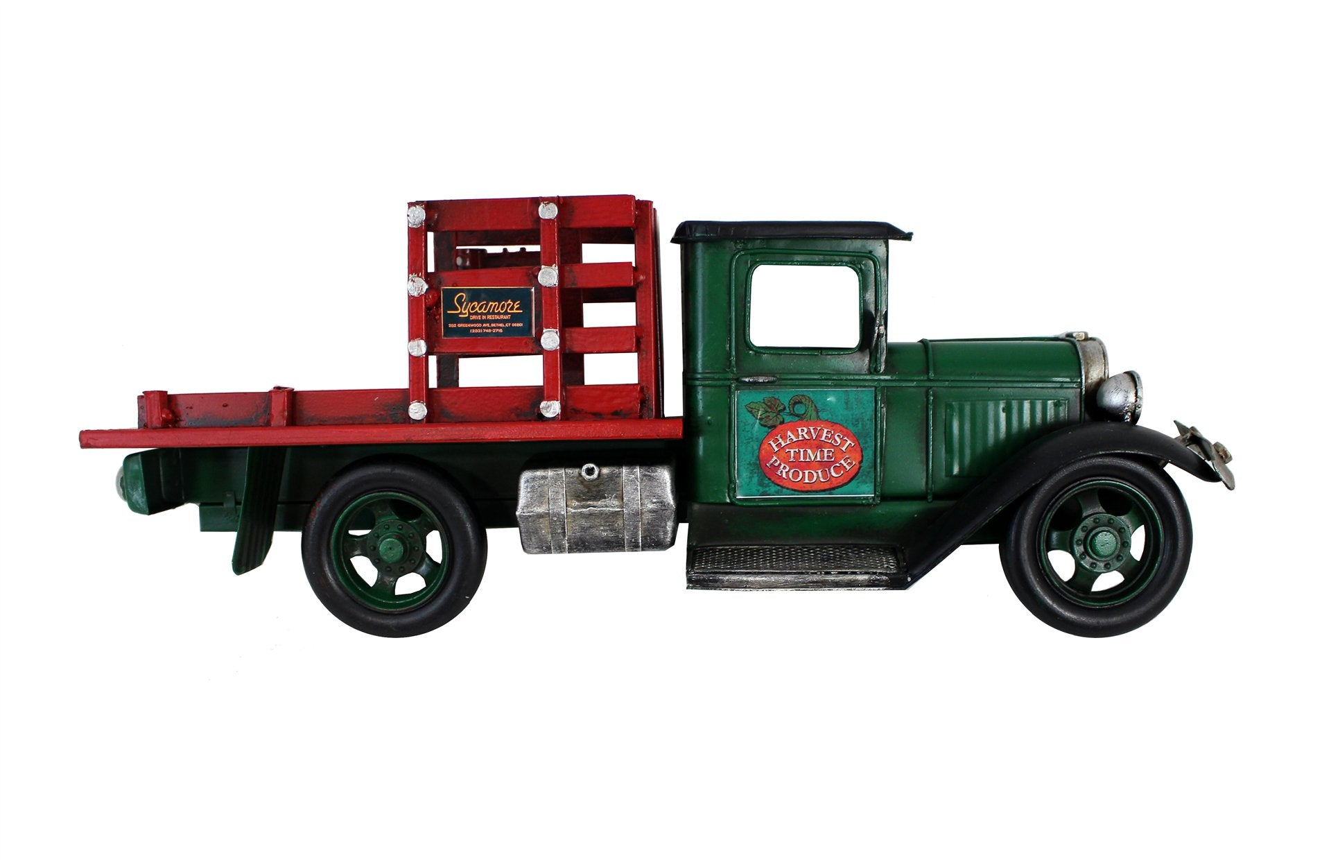 MINIATURE GREEN AND RED FLATBED TRUCK