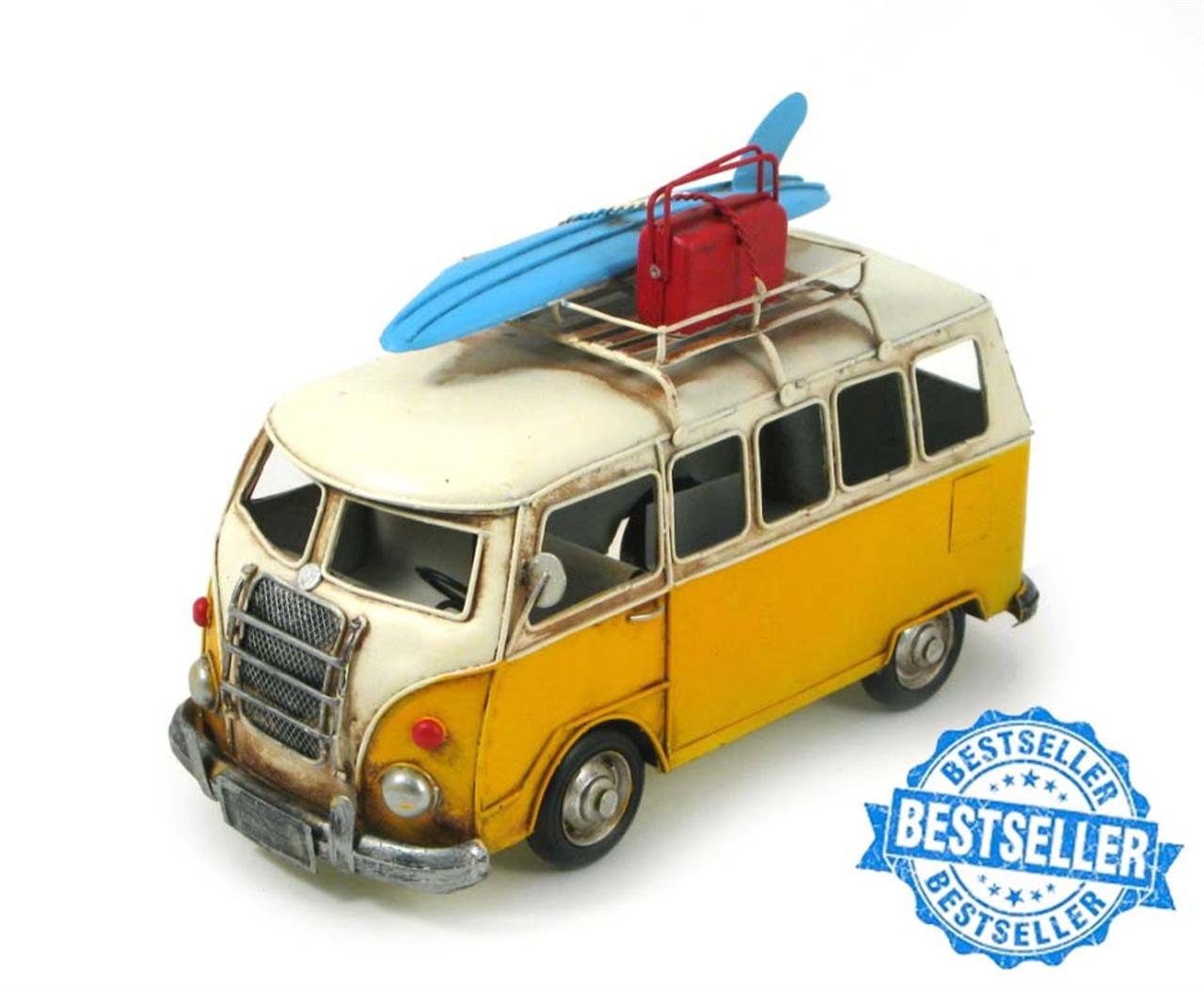 MINIATURE CAMPER WITH SURFBOARD & LUGGAGE