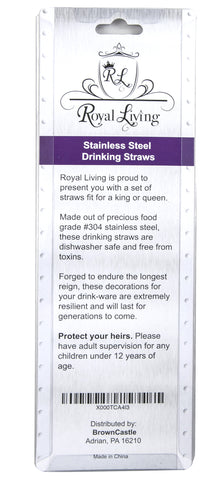 Royal Living Stainless Steel Drinking Straws, Bent, 12 count