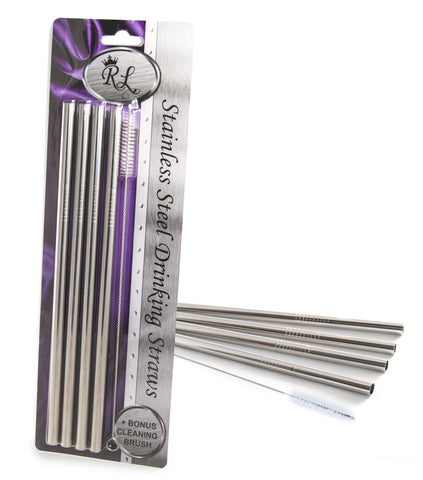 Royal Living Stainless Steel Drinking Straws, Straight, 12 Count