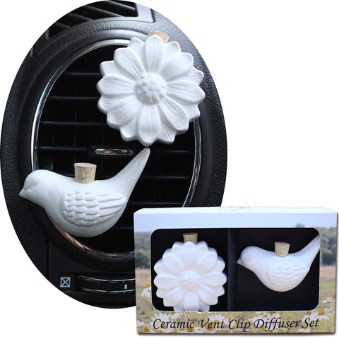Image of Ceramic Vent Clip Diffuser Set, Bird & Daisy