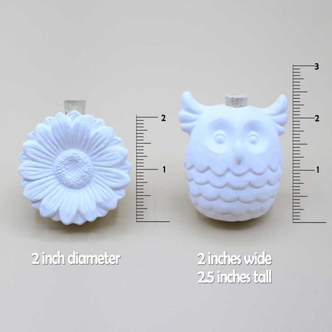 Ceramic Vent Clip Diffuser Set, Owl & Sunflower