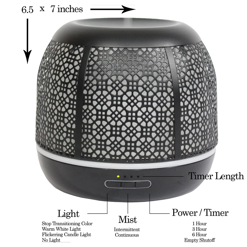Secret Garden 500mL Essential Oil Diffuser, Black (Open Box)