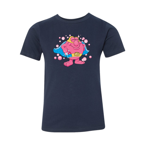 Mighty Bubble, Bath Time Superhero Kids Tee - Midnight Navy