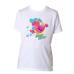 Mighty Bubble Saves The Day Kids Tee - White