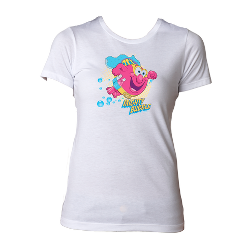 Mighty Bubble Saves The Day Womens Tee - White