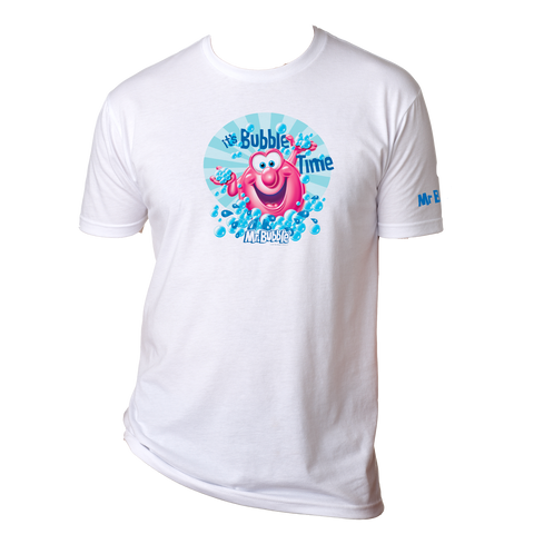 Mr. Bubble, It's Bubble Time Mens Tee - White