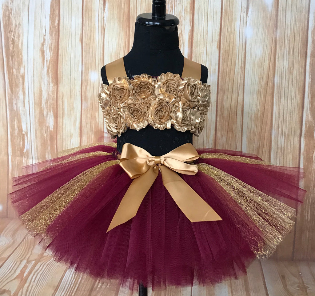 Smash Cake Tutu, 1st Birthday Tutu, Burgundy and Gold 1st Birthday Outfit