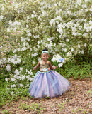 Blue Flower Girl Tutu Dress, Blue Girls Tutu, Blue Girls Tutu Dress, Rustic Country Tutu - Little Ladybug Tutus