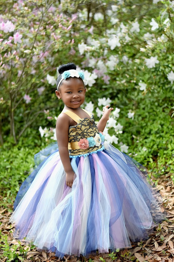 Blue Flower Girl Tutu Dress, Blue Girls Tutu, Blue Girls Tutu Dress, Rustic Country Tutu
