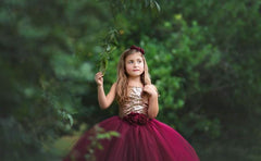 Burgundy Flower Girls Dress, Fall Wedding Flower Girl Dress