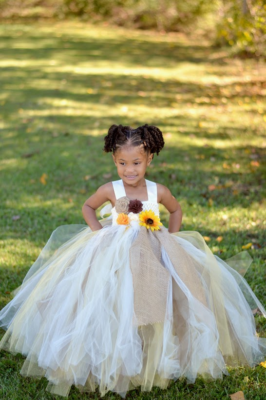 Sunflower & Burlap Tutu Dress, Sunflower Flower Girls Dress, Fall Wedding Flower Girl